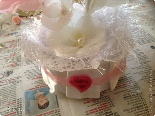 Свадебное дерево из лепестков роз и МК  фото 15