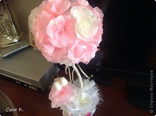 Свадебное дерево из лепестков роз и МК  фото 17