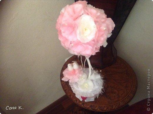 Свадебное дерево из лепестков роз и МК  фото 18