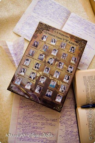 Мой новый заказ на выпускной. Шкатулка-книга для учителя. Автор книги- ФИО преподавателя, с помощью фотошопа фотографии класса расположены на тематическом фоне-старинный корабль. На обратной стороне карта на ней отмечены  предметы, крупным шрифтом-предметы одаряемого преподавателя. фото 2