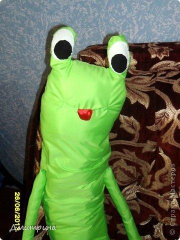 Здравствуйте, жители Страны! Сегодня пришла к вам в гости со своей подушкой-подружкой-лягушкой! Сшила сама, по своему эскизу. Набита синтепоном. фото 5