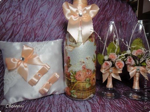 Свадебная бутылочка с элементами декора бисером :) фото 3