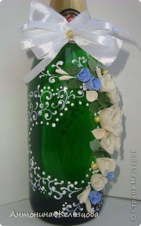 Завтра мне на юбилей. Вот такая бутылочка сотворилась на этот раз.  Давно я не оформляла бутылочек без фона. Наверное, соскучилась. фото 9