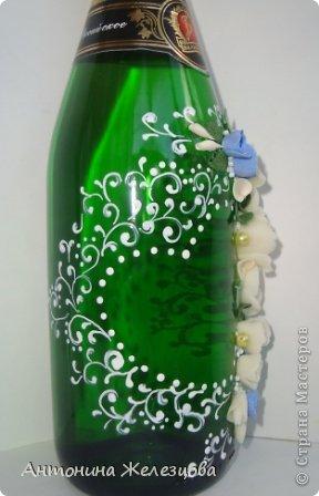 Завтра мне на юбилей. Вот такая бутылочка сотворилась на этот раз.  Давно я не оформляла бутылочек без фона. Наверное, соскучилась. фото 4