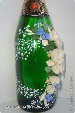 Завтра мне на юбилей. Вот такая бутылочка сотворилась на этот раз.  Давно я не оформляла бутылочек без фона. Наверное, соскучилась. фото 5