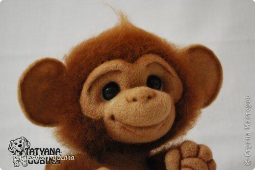 Слышен гомон спозаранок: Стая диких обезьянок Веселится и шалит, Среди веток пальм парит. Тут простор для шалунишек: Пусть на ветках нету шишек, Но бананы всегда есть, Связок их не перечесть. И летят от них кожурки, Перепачканы все шкурки, И хохочут и кричат, Дразнятся и верещат. Но не только лишь бананы- Занимают их лианы, Что везде: и там, и тут, Оплетая всё, растут. Как на них не прокатиться, Стоит только ухватиться Ловкой лапкою одной... Джунгли- дом для них родной! (О. Фомина) Высота: 19 см Материалы: шерсть, пластика, проволока, лак, пастельные карандаши. фото 5
