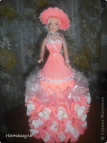кукла в персиковых тонах. внутри цветка конфета бим-бом. фото 1