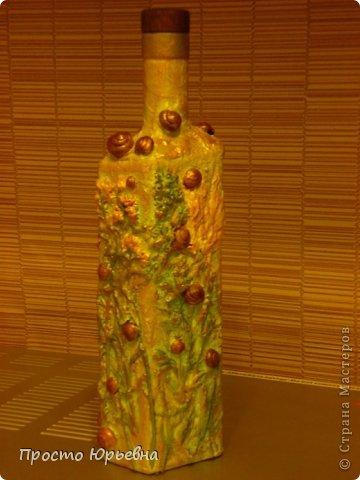 """Здравствуйте ВСЕМ!Решила попробовать для себя новую технику""""терра"""" .вдохновленная многими мастер - классами,опубликованными в СМ.Сделала вот такую бутылочку.Лето удалось влажное,так что травы и улиткиных домиков просто завались!Траву сушила в духовке.Использовала ПВА строительный и шпатлевку готовую выравнивающую.Песок применять не стала.Бутылочка получилась совсем легкая.Пробка открывается.Можно пользоваться.сама бутылка покрыта водостойким лаком- Цапоном. фото 1"""