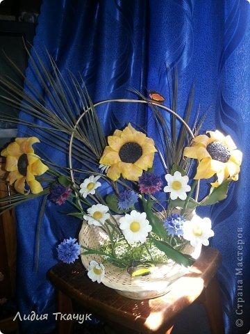 """Вот я и собрала свои первые цветочки в одну композицию... """"Лето в шляпе"""" фото 3"""