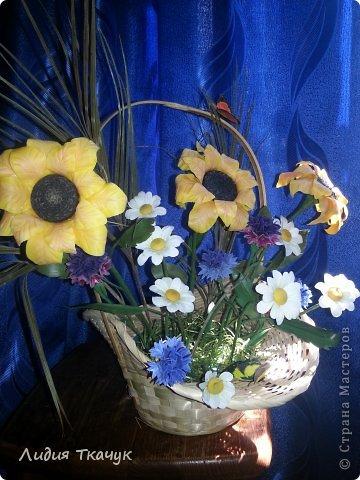 """Вот я и собрала свои первые цветочки в одну композицию... """"Лето в шляпе"""" фото 2"""