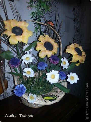 """Вот я и собрала свои первые цветочки в одну композицию... """"Лето в шляпе"""" фото 5"""