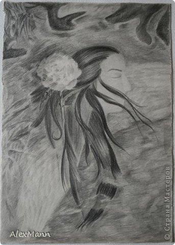 Ангел с георгинами. (Акварель.) фото 3