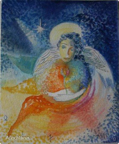 Ангел с георгинами. (Акварель.) фото 2