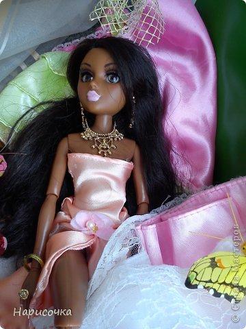 Привет Страна Мастеров! Недавно я сделала для своей куколки Найт лёгкое красивое платье. фото 24