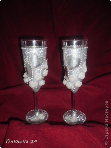Добрый Всем вечер!Выношу на Ваш суд очередные бокалы,приготовленные в подарок! Это первый этап.простенько, мне показалось мило.Но задумано было другое,поэтому пошла дальше! фото 3