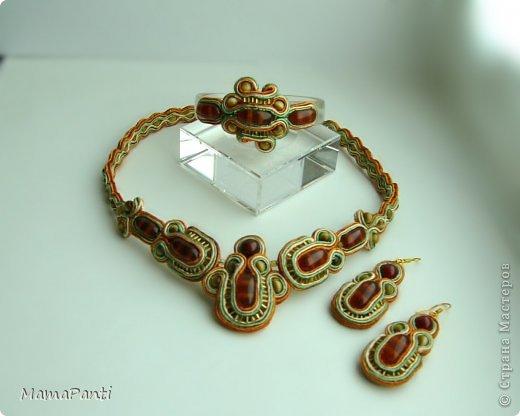 Комплект сутажных украшений с натуральными полудрагоценными камнями и бисером. фото 1