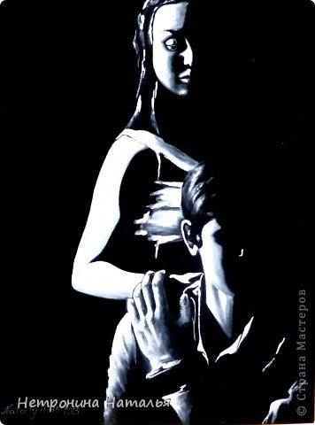 Картина написана маслом на черной искусственной замше фото 5