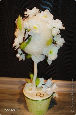 """топиарий """"Свадебный"""". Сизаль, сакура, ленты, сухоцветы фото 5"""
