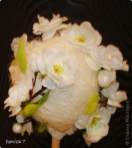 """топиарий """"Свадебный"""". Сизаль, сакура, ленты, сухоцветы фото 2"""