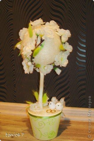 """топиарий """"Свадебный"""". Сизаль, сакура, ленты, сухоцветы фото 1"""