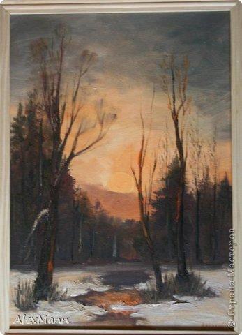 Закат в зимнем лесу. (Масло.) фото 1