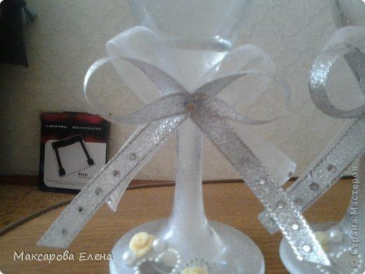 Эти бокалы я делала на собственную свадьбу так сказать первый опыт решила попробовать и вошла во вкус))) фото 2