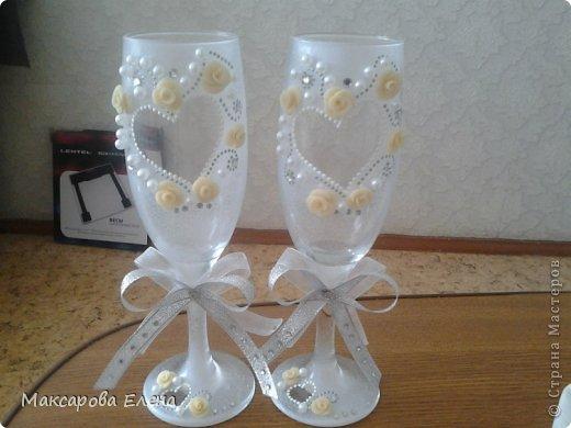 Эти бокалы я делала на собственную свадьбу так сказать первый опыт решила попробовать и вошла во вкус))) фото 1