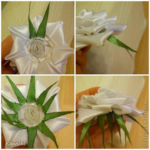Как сделать розу на стебле из ленты