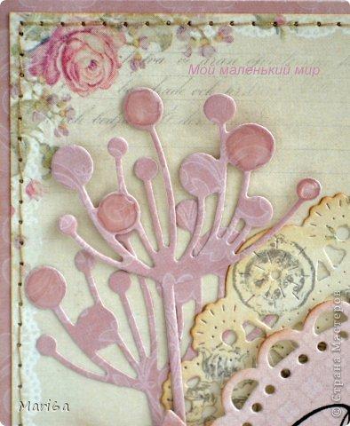 """Открытка для моей сестрички. Бумага от Pion Design, вырубки листочки от  Marianne Design, цветочек вязаный покупной, штампы бабочки, надпись от Марины Абрамовой. Ну и любимый """"укроп"""" от Memory Box. Получилась очень нежная открытка.  фото 3"""