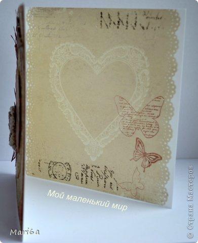 """Открытка для моей сестрички. Бумага от Pion Design, вырубки листочки от  Marianne Design, цветочек вязаный покупной, штампы бабочки, надпись от Марины Абрамовой. Ну и любимый """"укроп"""" от Memory Box. Получилась очень нежная открытка.  фото 7"""