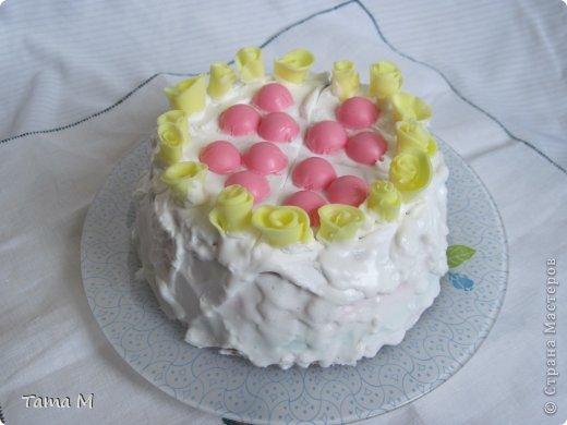"""На день рождения своей приятельницы захотелось ей подарить что-то необычное. Выбор пал на создание мыльного тортика. До этого никогда тортов из мыла не делала, поэтому этот тортик у меня пока первый и единственный. Торт состоит из 4 взбитых слоев, покрыт """"взбитыми сливками"""", ароматизирован шоколадом, вишней и капучино. Розочки, естественно, пахнут отдушкой """"роза"""". Может внешне торт получился не очень изысканным, но запах у него обалденный. Так и хотелось откусить кусочек. В общем, сюрприз удался, все решили, что торт самый настоящий. фото 1"""