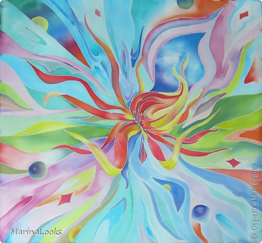 Еще один радостный платочек в технике батик поднимает настроение и исполняет мечты... фото 1