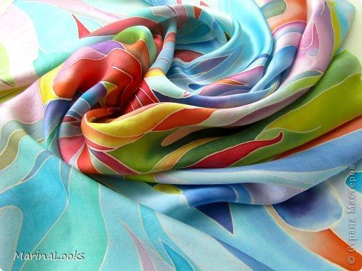 Еще один радостный платочек в технике батик поднимает настроение и исполняет мечты... фото 4