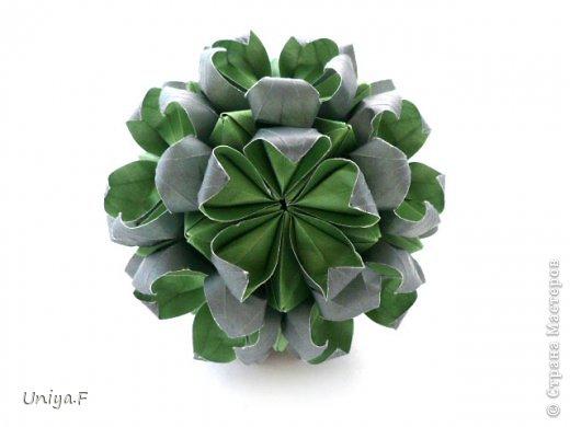 Всем большой привет!  Представляю участниц флешмоба: кусудаму от Екатерины и летучую мышку от Наташи.  Сделать Наташину кусудаму я не успеваю, так что ее с успехом заменит оригами-модель Наташиного же авторства.   Name: Passiflora curle  Designer: Ekaterina Lukasheva  Units: 30 ( www.kusudama.me/#/Passiflora/Passiflora-curly ) + 30 insert ( https://stranamasterov.ru/node/373744 )  Paper: 7*7 sm   Final height: 9 sm  Joint: glue  Bat by Natalia Romanenko http://kusudama.info/2012/10/halloween/  Модуль я слегка переделала, вывернула вершинки. Это дало 2 возможности собрать без клея. Но один способ крепления не подходил из-за того, что я планировала широко раскрыть лепестки. А второй не прошел из-за упрямства моего крафта. Небольшие уголки все время выскакивали. В итоге все равно клей. фото 3