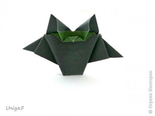Всем большой привет!  Представляю участниц флешмоба: кусудаму от Екатерины и летучую мышку от Наташи.  Сделать Наташину кусудаму я не успеваю, так что ее с успехом заменит оригами-модель Наташиного же авторства.   Name: Passiflora curle  Designer: Ekaterina Lukasheva  Units: 30 ( www.kusudama.me/#/Passiflora/Passiflora-curly ) + 30 insert ( https://stranamasterov.ru/node/373744 )  Paper: 7*7 sm   Final height: 9 sm  Joint: glue  Bat by Natalia Romanenko http://kusudama.info/2012/10/halloween/  Модуль я слегка переделала, вывернула вершинки. Это дало 2 возможности собрать без клея. Но один способ крепления не подходил из-за того, что я планировала широко раскрыть лепестки. А второй не прошел из-за упрямства моего крафта. Небольшие уголки все время выскакивали. В итоге все равно клей. фото 6
