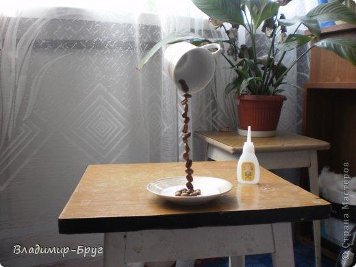 Сверляцца кофейные зерна дрелью маленьким сверлом. Стальная спица (здесь из зонтика)снизу загибается спиралью и клеется к блюдцу супер клеем Секунда. Зерна нанизываэтся на спицу и клеятся. фото 7