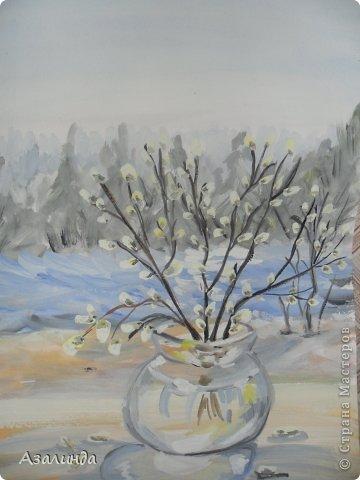 Зимний пейзаж) гуашь)) фото 4