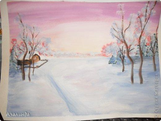 Зимний пейзаж) гуашь)) фото 1