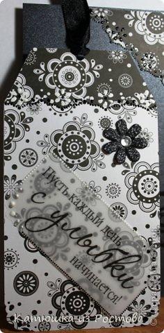 """Доброго времени суток Мастерам и Мастерицам!!! Представляю Вам свои новые работы - открытки ко Дню Рождения. Почему-то захотелось в черно-белых тонах сделать, а теперь вот вижу - мрачновато получилось. Разбавляла светлым как могла. Комментарии писать не буду, и так все понятно. Сразу оговорюсь - фото много. Это - первая """"мрачнюшка"""". фото 9"""