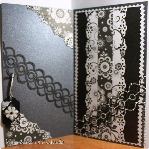 """Доброго времени суток Мастерам и Мастерицам!!! Представляю Вам свои новые работы - открытки ко Дню Рождения. Почему-то захотелось в черно-белых тонах сделать, а теперь вот вижу - мрачновато получилось. Разбавляла светлым как могла. Комментарии писать не буду, и так все понятно. Сразу оговорюсь - фото много. Это - первая """"мрачнюшка"""". фото 4"""