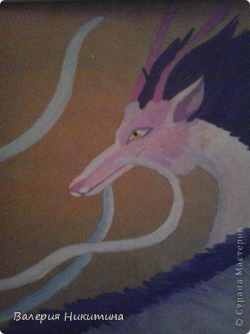"""дракон из мультика """"Унесенные призраками"""". нарисован гуашью на крафтовой бумаге"""