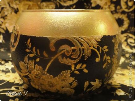 Декупаж вазы - черное с золотом