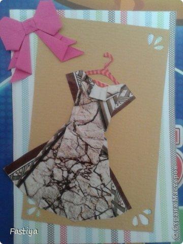 """Чтобы выходные прошли не зря... создала ещё одну мини-серию АТС - """"Оригами-платья""""... Я знаю, что что-то подобное уже кто-то делал... Надеюсь вам понравится и моё творчество=)  Карточка №1 (на мой взгляд самая милая))) фото 1"""