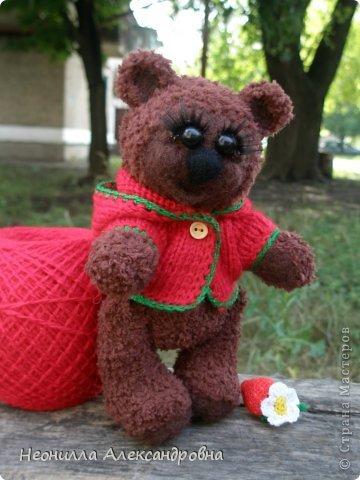 Я испытываю сильную страсть к вязанию медведей))) Решила сделать серию мишек-Сладкоежек в одном стиле. И первым лотом серии будет Клубничка. фото 2