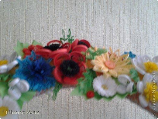 работа на конкурс. получила областную грамоту и работа ушла на Киев. все цветы приклеила на два модульных кольца разных размеров. фото 3