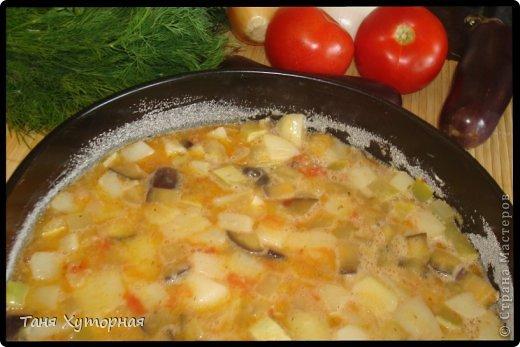 Тортилья - испанское блюдо, что-то среднее между запеканкой и омлетом. В её составе всегда есть картофель и яйца.  Ингредиенты: - картофель (средний) - 5-6 шт. - кабачок (средний) - 1 шт. - баклажан (средний) - 1 шт. - помидор - 2 шт. - лук (крупный) - 1 шт. - яйцо - 4-5 шт. - сыр твёрдый - 100 г. - соль фото 11