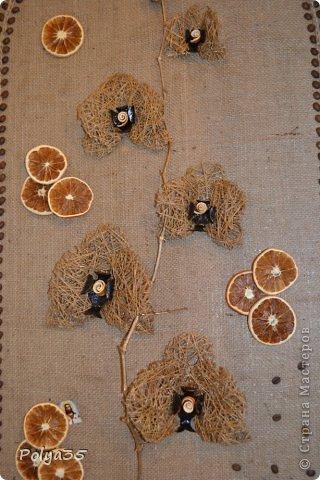 Доброго времени суток! Сделала вот такую ветку орхидеи. МК цветов здесь https://stranamasterov.ru/node/529254. Стебель - проволока обмотанная салфетками. Листья - фактурные обои, крашенные кофе растворимый +ПВА. Кора настоящая, сверху салфетки на ПВА (укрепила). Размер коры 72 см.  фото 8