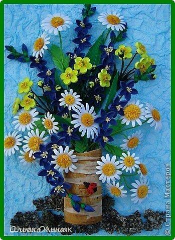 картина делалась на конкурс весны. идея не моя а прекрасной мастерицы Ольги Ольшак. все цветы держатся на клею и проволке.  я не копировала полностью работу, мне захотелось чего-то добавить своего. работа заняла 1 место и понравилась всем. но было одно но...  мне сказали что цветы сорваны, а смысл должен оберегать весенние цветы. мне предложили в место вазы сделать руки, но я отказалась, ведь это портит весь букет... решила сама себе я)))     фото 6