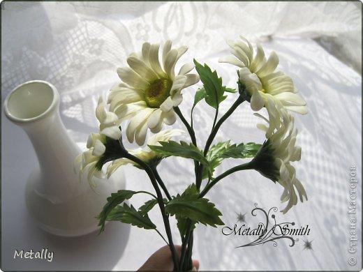 Ромашки-скромняжки, прошу любить и жаловать:) Слепила для любимой подруженьки! Букетик из пяти цветков. И вазочку удалось купить тютелька в тютельку, как надо! фото 4