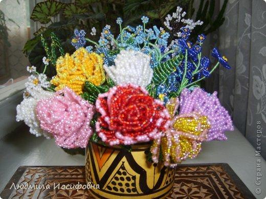 Букет из бисера полевые цветы.  Бисероплетение цветы для детей - Делаем фенечки своими руками. .